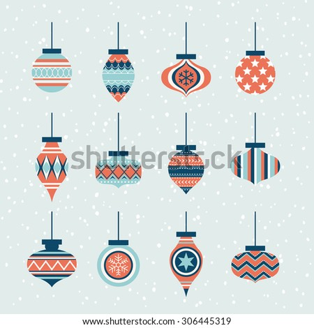 christmas ornaments ball element set