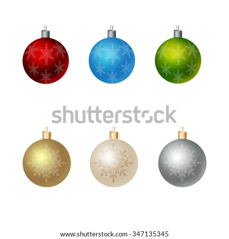 Christmas ornaments colorful realistic vector illustration with snow flakes. - stock vector