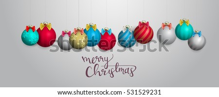 Christmas ornaments hanging. Greeting card. Merry Christmas vector illustration.