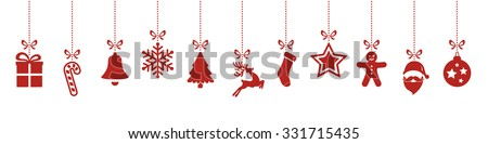 christmas ornaments hanging red isolated background - stock vector