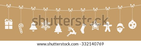 christmas ornaments hanging rope gold background - stock vector