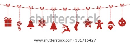 christmas ornaments hanging rope red isolated background - stock vector