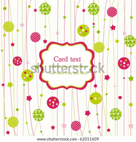 Christmas ornaments with frame - stock vector