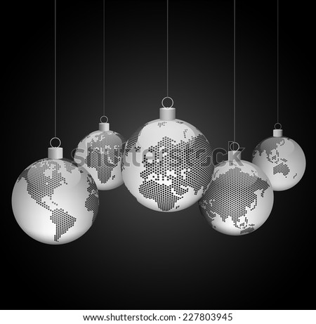 Christmas ornaments with world dotted maps - gray on black background - Christmas travel - Vector eps10 - stock vector
