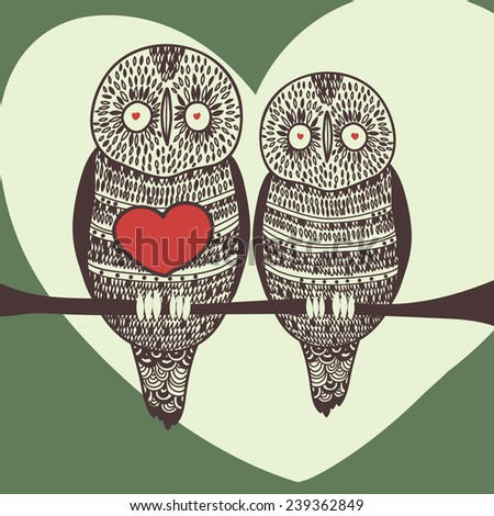 christmas owl couple - stock vector