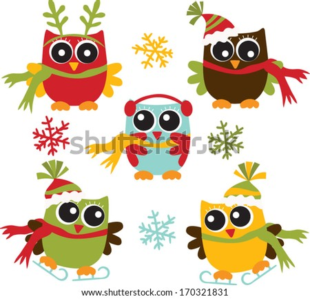 Christmas Owls - stock vector