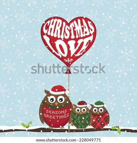christmas owls on snowflake background with festive heart shaped balloon - stock vector