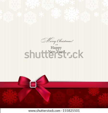 Christmas paper background with red bow. Vector eps10. - stock vector