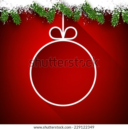 Christmas paper ball over red winter abstract background. Vector illustration with snowflakes.   - stock vector