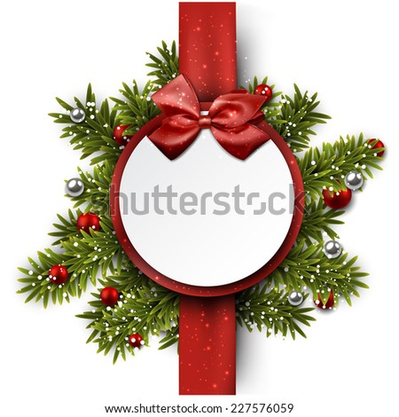 Christmas paper ball with red ribbon and satin bow. Vector illustration.  - stock vector