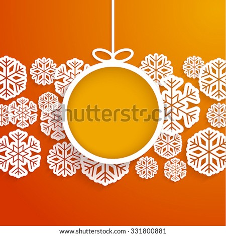 Christmas paper card with hanging toy and snowflakes. Vector illustration. - stock vector