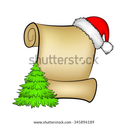 Christmas paper scroll card with santa cap,hat and Christmas tree. vector illustration isolated on white background. - stock vector