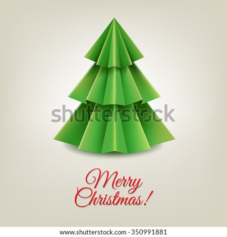 Christmas Paper Tree With Gradient Mesh, Vector Illustration
