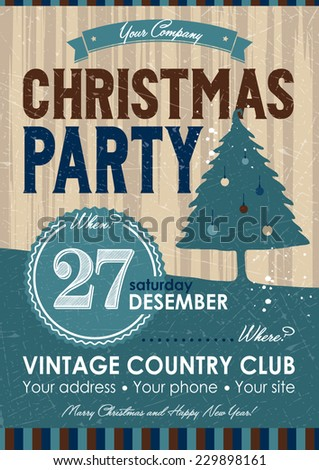 Christmas Party Flyer - stock vector