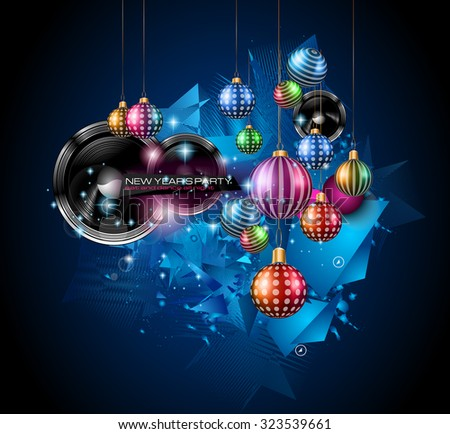 Christmas Party Flyer for music night events, club poster background, disco flyers, private parties and so on! - stock vector