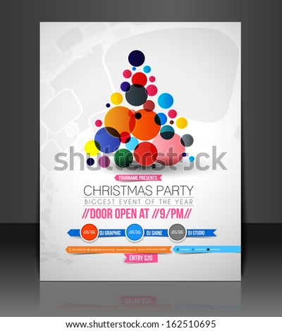Christmas Party Flyer & Poster Template  - stock vector