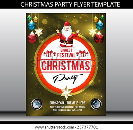 Christmas Party Flyer Template Vector Illustration Stock Vector