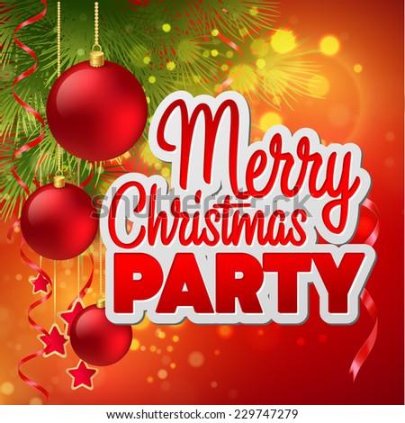 Christmas party flyer. Vector template - stock vector