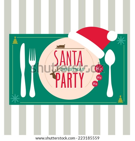 Christmas party greeting card background dinner concept with plate fork and spoon table set - stock vector