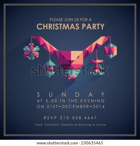 Christmas Party Invitation Card. - stock vector