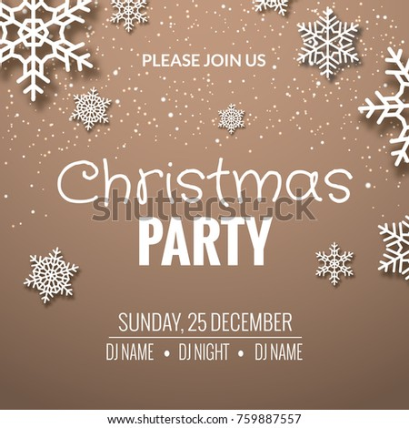 Christmas Party Invitation Poster Design Retro Gold Typography And Ornament Decoration Illustration Xmas Holiday