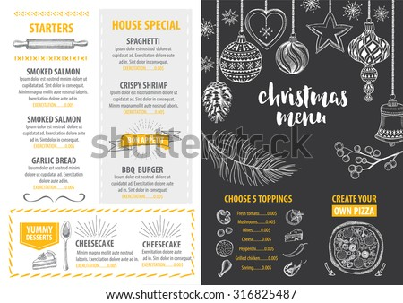 Christmas party invitation restaurant menu design stock vector christmas party invitation restaurant menu design vector template with graphic stopboris Choice Image