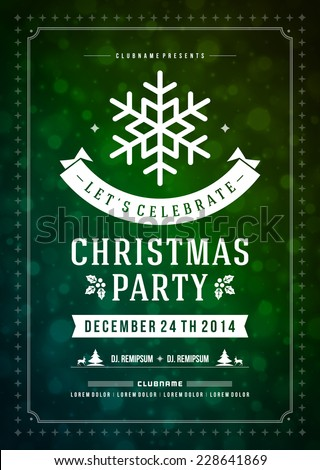 Christmas party invitation retro typography and ornament decoration. Christmas holidays flyer or poster design. Vector illustration. - stock vector