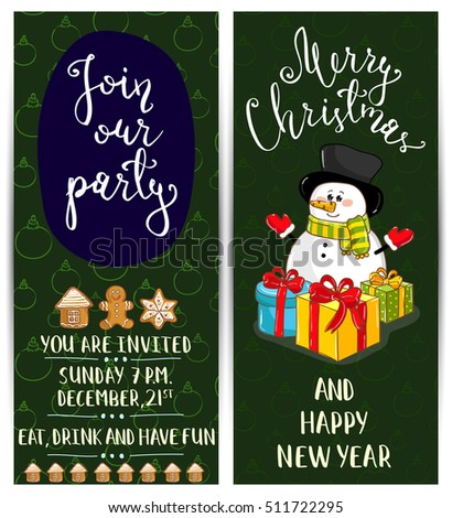 Christmas party invitation with cartoon Snowman, gifts, decoration vectors. Christmas party invitation layout.