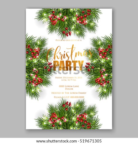 Christmas party invitation with fir, pine and holly berry branches garland