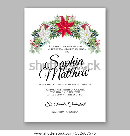 Christmas Party Invitation Holiday Wreath Needle Stock Vector ...
