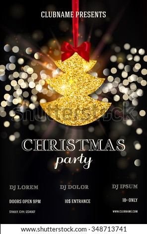 Christmas party or dinner invitation, poster, flyer, greeting card, menu design template. Vector illustration - stock vector