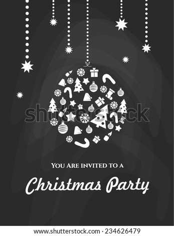 Christmas party. Vintage Merry Christmas And Happy New Year Calligraphic And Typographic Background With Chalk Word Art On Blackboard