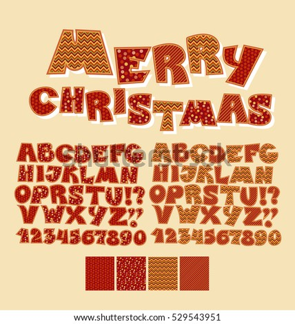 Christmas Patchwork Style Abc Font Alphabet Stock Vector 529543951
