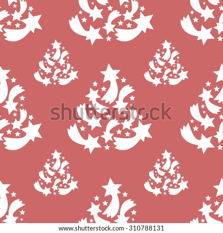 Christmas pattern background tree / Pattern with christmas trees on the red background. - stock vector