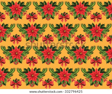 Christmas pattern on a yellow background. - stock vector
