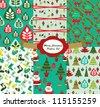 christmas pattern set. vector illustration - stock vector