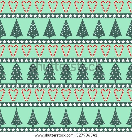 Christmas pattern - varied Xmas trees, stars and candy canes. Happy New Year and Merry Xmas seamless background. Vector design for winter holidays on mint background. - stock vector