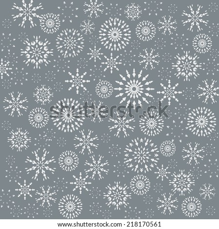 Christmas pattern. Winter theme retro texture. Snowflake silhouettes on grey background. Vector illustration. - stock vector