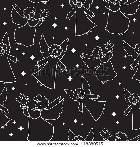 Christmas pattern with angels and stars - stock vector