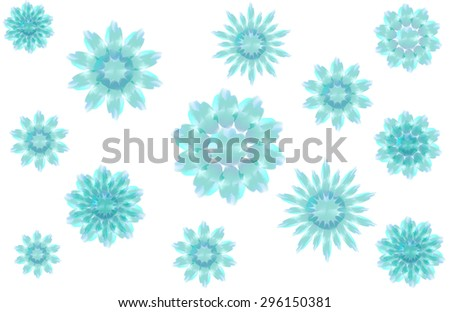 Christmas pattern with blue snowflakes on white background - stock vector