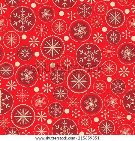 Christmas pattern with decorative snowflakes on red  background. - stock vector
