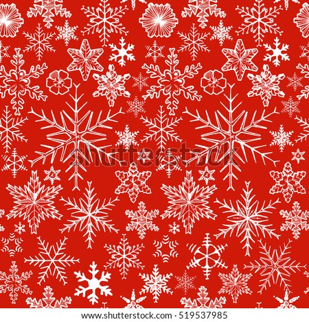 Christmas pattern with decorative snowflakes on red background. Vector illustration in ink hand drawn style.