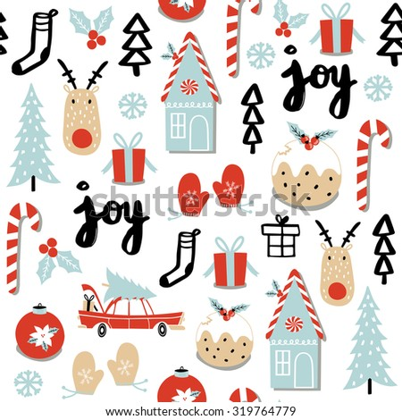 Christmas pattern with deer, tree, cake, gingerbread, mittens, toys, gifts and socks. - stock vector