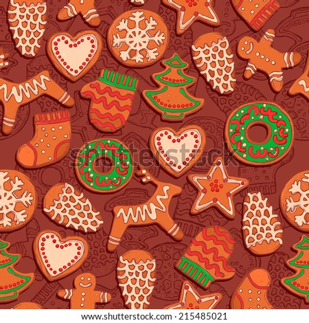 christmas pattern with gingerbread, christmas bakery pattern, new year cookies pattern - stock vector