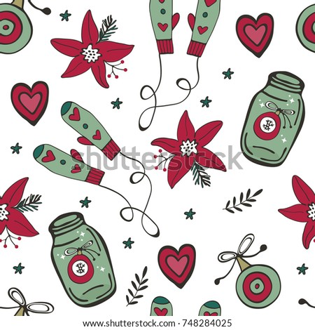 Christmas pattern with mittens, Christmas baubles, poinsettia flowers and hearts