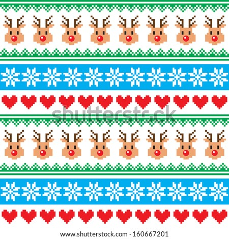 Christmas pattern with reindeer pattern - Scandinavian sweater style - stock vector