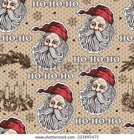 Christmas pattern with Santa Claus.  Vector background for textile, wrapping paper and other printing and web projects. - stock vector