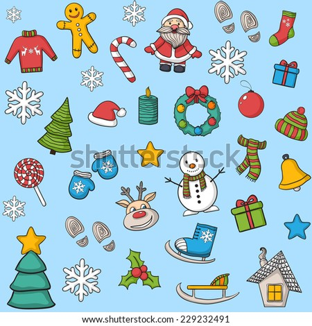 Christmas pattern with snowman, reindeer,Christmas tree,gift,house,candle, cookies,Santa Claus,footprints,snowflakes,ice skating,sleigh,stocking,Christmas ball on a striped background,mittens.New Year - stock vector