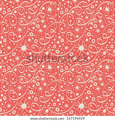 Christmas pattern with streamers and confetti. Seamless background with streamer and confetti - stock vector