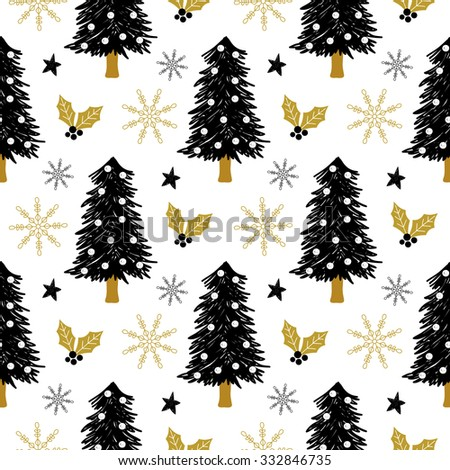 Christmas pattern with tree, holly, snow and stars. Vector illustration. Template for Greeting Scrapbooking, Congratulations, Invitations. - stock vector